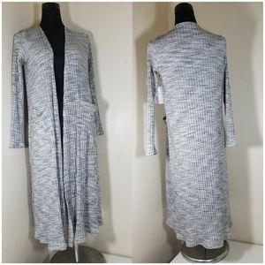 LuLaRoe Heathered Gray Stripe Sweater